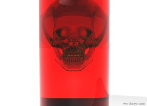 there is a translucent chartreuse skull. the skull is 1 foot tall. there is a red clear cylinder. the cylinder is 2 feet long. the cylinder is 1 foot wide. the cylinder is -1.5 feet above the skull. the sky is shiny white. the ground is shiny white