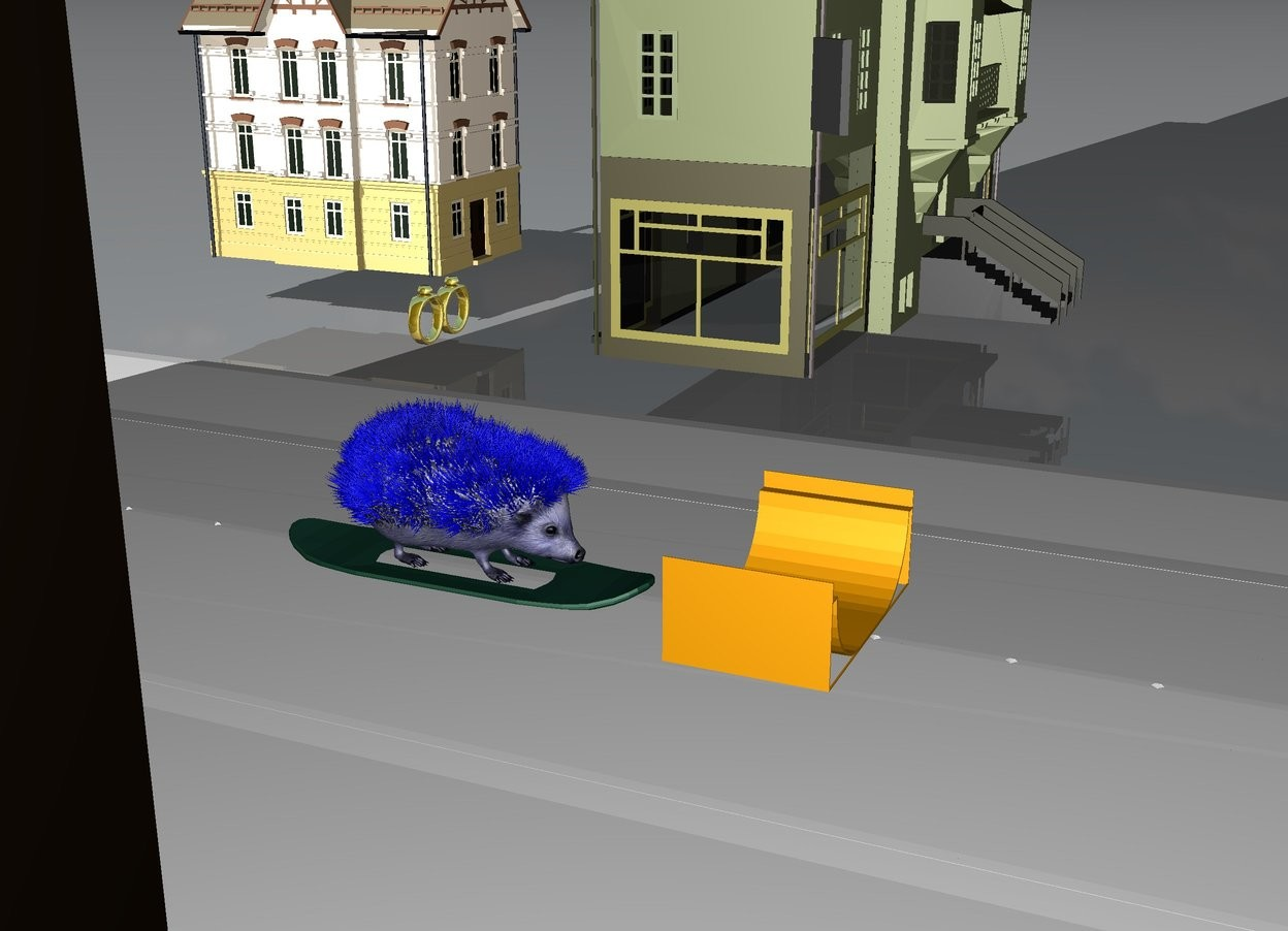 Input text: Huge Blue Hedgehog is on a large skateboard. there is a white road under the hedgehog.There is a tiny building 10 feet from the hedgehog. There is a tiny building 10 feet to the right of the hedgehog. There is a tiny building 6 feet behind the building. There are very huge gold rings 1 foot above the hedgehog. There is a tiny orange ramp 2 feet in front of the hedgehog.