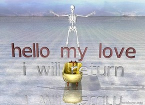 """there is a skeleton. the skeleton is 1 feet above the golden bathtub. the ground is shiny grey dirt. brown """"hello my love"""" is 10 inches in front of the skeleton. silver shiny translucent""""i will return"""" is 2 inches below """"hello my love"""""""