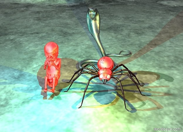 Input text: the 19 foot tall shiny black cobra is behind the 8 foot tall shiny red spider. the 12 foot tall shiny red fetus is one foot to the left of the spider. The cyan light is two feet above the fetus. The bright yellow light is two feet above the spider.