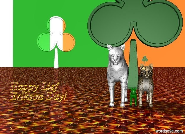 Input text: The sky is Ireland.   the orange cat is to the right of the green cat. the white cat is to the left of the green cat.   the ground is lava.  the first shamrock is above the orange cat. the second shamrock is 8 inches tall and above the white cat. the third shamrock is 8 foot tall. the third shamrock is -2.1 inches above the green cat.   the fourth shamrock is 300 feet behind the green cat. the fourth shamrock is 86 feet west of the green cat.the fourth shamrock is 80 feet tall. the fourth shamrock is facing the orange cat. the fourth shamrock is [ireland].