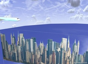 the gigantic [new york] wall is 2000 feet wide and 400 feet tall. The big plane is 100 feet behind and 1 foot above the wall. It is -10 feet to the left of the wall. It is facing 40 degrees to the right. The cyan light is 2 feet in front of the plane. The ground is shiny.