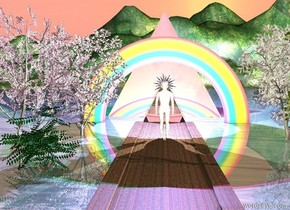 There is a brick road. It is yellow. It is 180 feet long. There is a rainbow behind the road. It is 20 feet tall. The sun is pink. It is dawn.  A pyramid is behind the rainbow. It is white and transparent. It is 10 feet tall. 2nd pyramid is behind the pyramid. The 2nd pyramid is silver. It is 30 feet tall. A magenta light is above the 2nd pyramid. A cyan light is above the pyramid.  A man is on the road. The man is white. The man is shiny. The man is 10 feet tall. The man is 30 feet in front of the pyramid. A star is behind the man. The star is transparent and shiny. It is 7.5 feet above the ground. An eye is 2 inch in front of the man. It is 10 feet above the ground. A white light is behind the star.  1st tree is left of the road. It is 20 feet tall. It is 10 feet in front of the rainbow. 2nd tree is 5 feet in front of the 1st tree. It is 20 feet tall. A bush is 3 feet in front of the 1st tree. It is 10 feet tall.   3rd tree is 10 feet right of the man. The 3rd tree is 20 feet tall. 4th tree is 5 feet in front of the 3rd tree. The 4th tree is 20 feet tall.