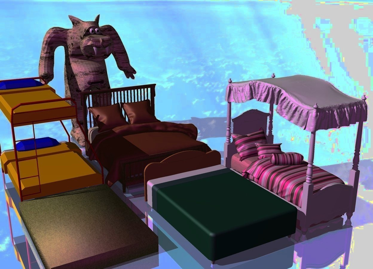 Input text: There is a bed. There is a 2nd bed next to the bed. There is a 3rd bed 2 feet behind the bed.there is a 4th bed next to the 3rd bed. there is a 5th bed in front of the 4th bed. The ground is [cloud]. The ground is reflective. The camera light is purple. the [sand] monster is behind the beds.