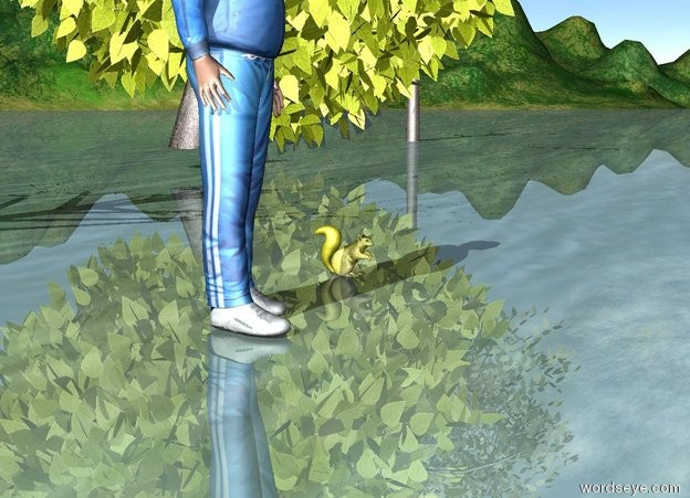 Input text: There is a yellow squirrel.  there are 4 trees behind the squirrel.   There is a man 2 feet from the squirrel.