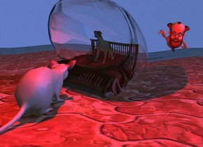 the microscopic bed is on the floor. the microscopic dog is on the bed. the floor is tile. the [dream] wall is to the left of the floor. it is facing right.  the large mouse is 3 inches in front of the bed. it is facing the bed. the small thought balloon is 10 inches in the bed. it is facing right. the camera light is black. the sun is mauve. it is morning. a large man is 35 feet behind the bed. the sky is water. the ground is water. a red light is 4 inches above the mouse.