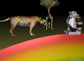The humanoid robot is on the rainbow.  A giant yellow light is above the humanoid robot.  It is night.  A big tiger is 5 feet left of the humanoid robot.  The big tiger is facing east.  The humanoid robot is facing west.   A gorilla is 1 foot to the left of the humanoid robot.  the gorilla is 2 feet behind the humanoid robot.  There is a small tree 1 inch in the gorilla