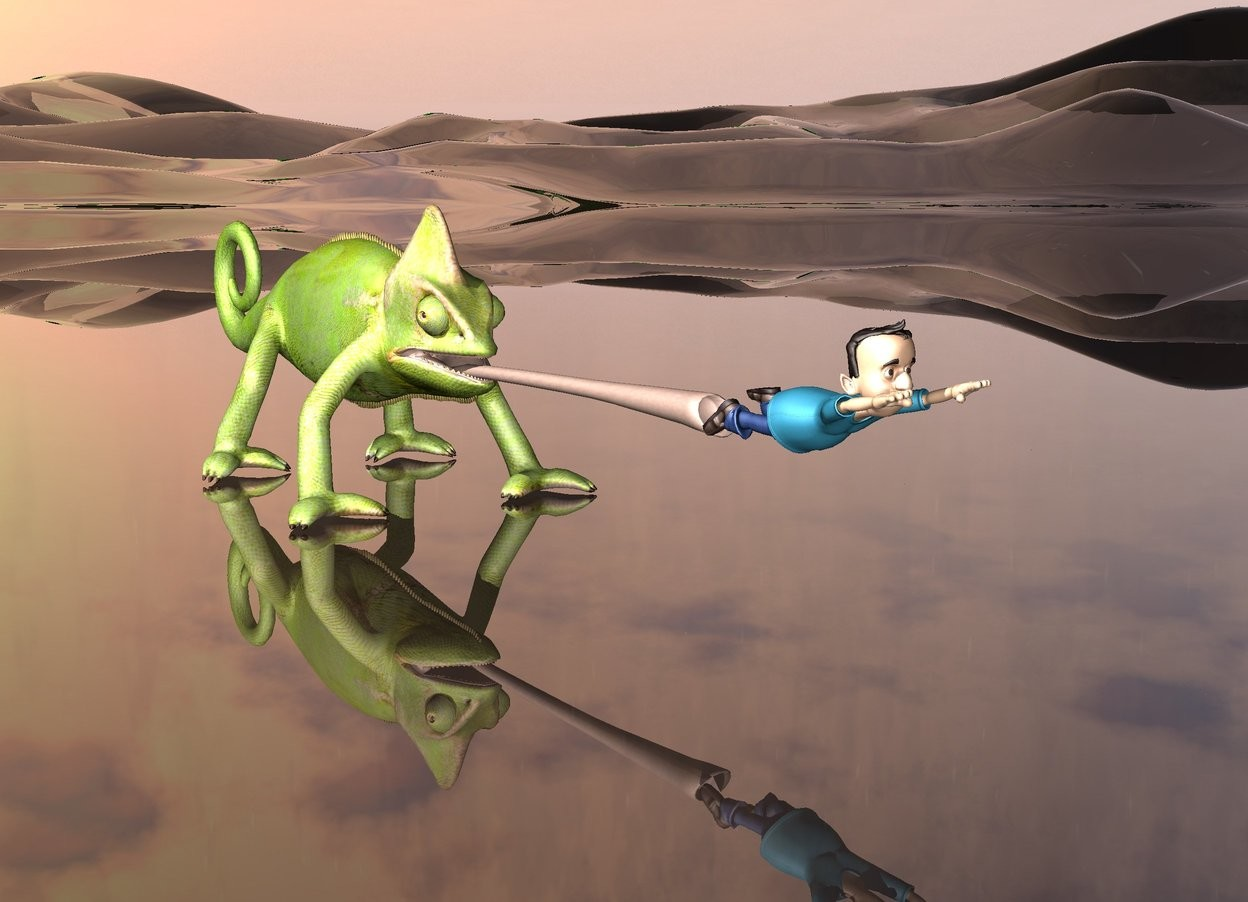 Input text: the extremely tiny man is in front of the tongue of the very large chameleon.the ground is dark green and transparent.
