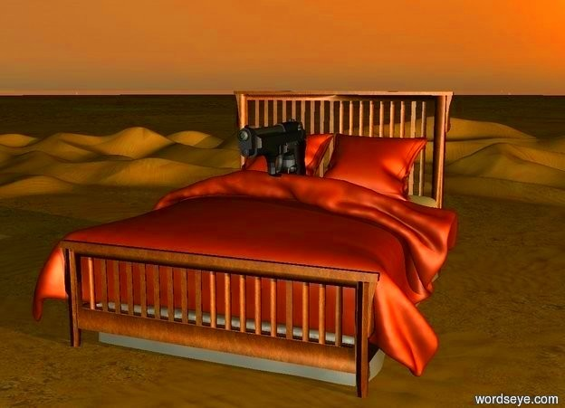Input text: There is a 50 foot wide bed. There is a gun. The gun is on the bed. The gun is 20 feet long. It is sunrise.