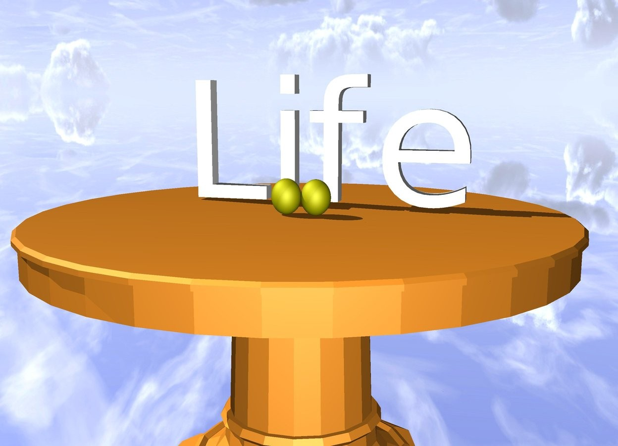 "Input text: There are lemons on the table. small ""Life"" is 10 centimeters behind the lemons. the ground is silver."