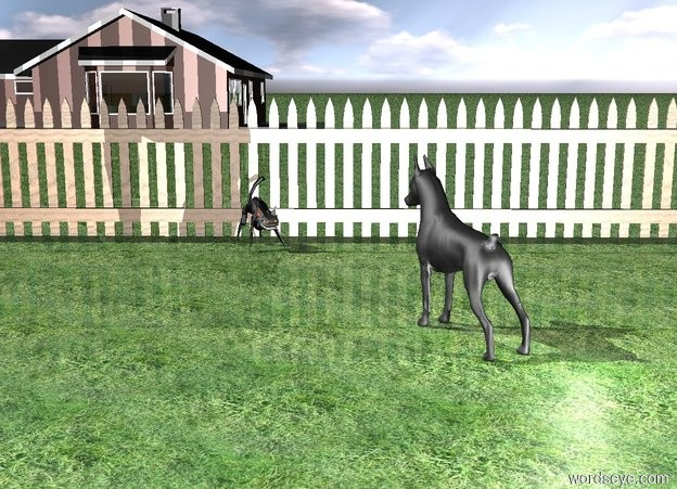 Input text: The cat is facing the dog. The cat is  in front of the extremely long [wood] fence.  The cat is in front of fence.  The ground is grass.  The dog is facing the cat. The dog is 5 feet in front of and 2 feet to the right of the cat.  The house is 50 feet behind the fence. The house is 1 foot left of the cat. The house is facing west.  The light is in front of and to the right of the dog.