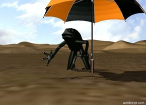 A giant frog Under an umbrella in the middle of the desert