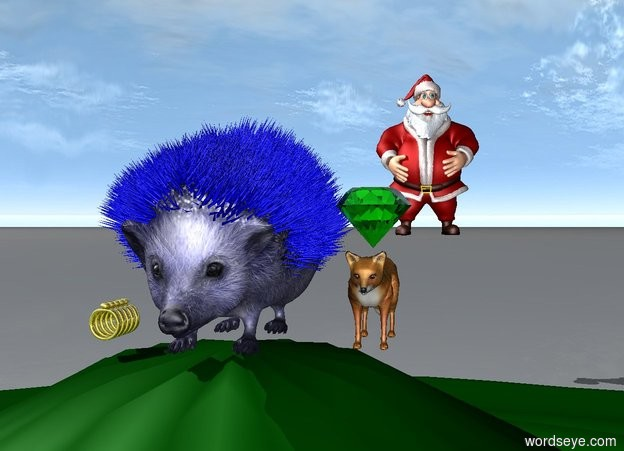 Input text: the  blue hedgehog is on top of a hill. 5 golden rings are to the left of it. a red man is 20 feet behind the hedgehog. a tiny fox is to the right of the hedgehog. a large green emerald is above it.