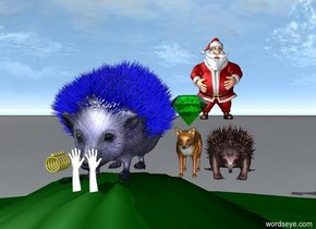 the  blue hedgehog is on top of a hill. 5 golden rings are to the left of it. a red man is 20 feet behind the hedgehog. a tiny fox is to the right of the hedgehog. a large green emerald is above it. a tiny red echidna is to the right of the fox. two tiny white gloves are in front of the hedgehog.