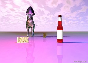 """There is a huge red bottle. a huge cheese is four feet to the left of the bottle. the cheese is facing the bottle. a red light is five feet above the cheese. a blue light is ten feet above the bottle. a large yellow mug is twelve feet behind the bottle and to the left. a large green bobcat is 15 feet behind the cheese. a huge hat is on the bobcat. the ground is bone. huge purple """"?"""" 300 feet behind and 10 feet above the bottle."""