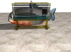 There is a clear tank. There is a tiny person inside the tank. The person is facing north. There is a tiny television 11 inches to the left of the person. The television is facing the person. There is a light in the television. There is a extremely large fish in front of the tank. The fish is facing east. The floor is marble. The floor is underneath the fish. There is an extremely long white wall 10 feet in front of the fish.