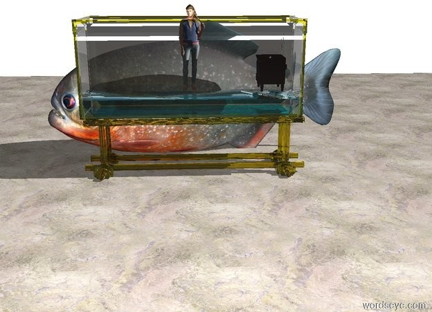 Input text: There is a clear tank. There is a tiny person inside the tank. The person is facing north. There is a tiny television 11 inches to the left of the person. The television is facing the person. There is a light in the television. There is a extremely large fish in front of the tank. The fish is facing east. The floor is marble. The floor is underneath the fish. There is an extremely long white wall 10 feet in front of the fish.