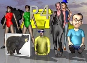 "the yellow man is -3 feet above the ground. a tv is to the left of the yellow man. the tv is [bear]. a green girl is behind the tv. a red girl is to the left of the green girl. a black guy is behind the red girl. a red woman is to the right of the yellow man. a 5 foot tall  boy is behind and to the right of the red woman.  a blue hat is behind and -0.7  feet to the right of the red woman. the hat is 6 feet above the ground.  a black shiny ""P4"" is in front of the yellow man. the ""P4"" is 4 feet above the ground.  the tv is 0 feet above the ground. the green girl is 0 feet above the ground. the red girl is 0 feet above the ground. the red woman is 0 feet above the ground.  a girl is -2 inches under the hat.  blue eyeglasses are in front of the tv and 9 inches to the right of the tv. the eyeglasses are 31 inches above the ground. enormous yellow robot is 50 feet behind the green girl. robot is -40 feet above the ground. robot is -16  feet to the left of the green girl."