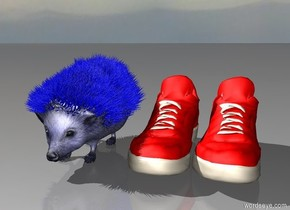 a blue hedgehog with red sneakers
