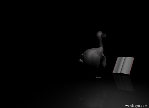 Input text: the ground is black. the dodo is facing backwards. the camera light is black. it is night. The book is 1 foot behind the dodo. it is leaning 30 degrees to the back. a grey light is above and to the right of the dodo.