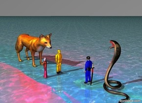 The orange man is 5 feet tall. The very huge fox is 2 feet behind the orange man. The blue man faces the orange man. The blue man is 7 feet in front of the orange man. The ground is water. The red light is in the fox. The purple light is in the blue man. the sky is grey. The large snake is 2 feet in front of the blue man. The large snake faces the blue man. the princess is 4 feet tall. The princess is 2 feet left of the orange man. The princess faces the blue man. The blue man is 5 feet tall. The sword is .2 feet in front of the blue man.