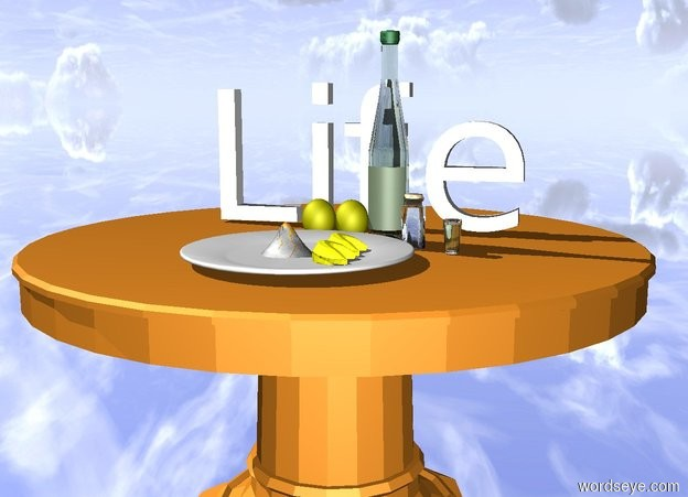 """Input text: There are lemons on the table. small """"Life"""" is 10 centimeters behind the lemons. the ground is silver. a bottle is right of the lemons. a tiny spice bottle is in front and right of the bottle. a  plate is in front of the lemons. 2 yellow fortune cookies are -0.4 feet to the right of the plate. they face left. a -0.3 feet wide white volcano is left of the cookies. a very small drinking glass is in front and 0.1 feet right of the spice bottle"""