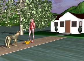 There is a red woman 3 feet in front of the wolf. the woman is facing the wolf. the wolf is facing the woman. there is a wide path under the woman. the path is in the ground. there is a house in front of the path. the house is on the ground. the house is facing the woman. there is a basket on the ground behind the woman.ground is unreflective. There are trees on the right of the woman.