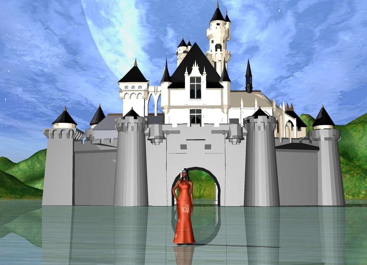 Input text: The princess is peach. There is a castle 100 feet behind the princess.