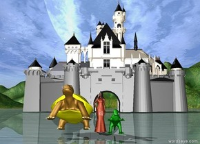 The princess is peach. There is a castle 100 feet behind the princess. An enormous yellow turtle is on the left of the princess. the turtle is leaning backwards. a green tiny dinosaur is on the right of the princess.
