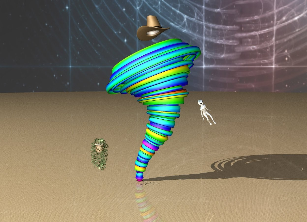 Input text: enormous vine 0 feet to the left of the big rainbow tornado.  an enormous silver alien is leaning 40 degrees to the right.  the enormous alien is 0 feet to the right of the tornado.  the enormous alien is 53 feet above the ground.  the vine is 20 feet above the ground.  [Space] sky.  extremely enormous cowboy hat above tornado.  sand ground.