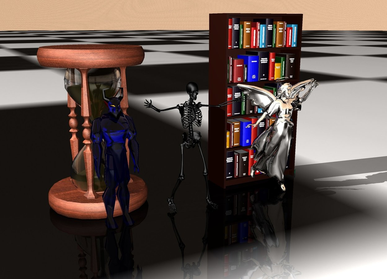 Input text: huge clear blue devil to the left of huge skeleton.  huge silver angel to the right of huge skeleton.  extremely enormous hourglass behind huge devil.  extremely large bookcase behind huge angel.  huge skeleton is black.  checkerboard ground.  wooden sky.  behind hourglass and book.