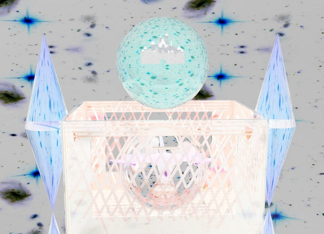 Input text: There is a huge clear pink sphere.there is a 30 centimeter tall castle 60 centimeters inside the huge clear pink sphere. There is a huge clear box under the sphere. There is a huge clear white sphere inside the huge clear box. there is a tiny dragon 60 centimeters inside the huge clear white sphere. there is a huge clear orange cone on the left of the box. it is upside down. there is a 2nd huge clear orange cone on top of the cone. there is a huge clear orange cone on the right of the box. it is upside down. there is a 3rd huge clear orange cone on top of the cone.  the ground is silver. the sky is [texture]. [texture] is 1000 feet tall.