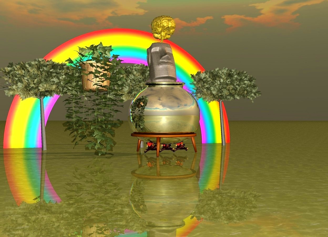 Input text: bud green water ground.  3 acacia trees.  very huge silver cauldron in front of acacia trees.  rainbow behind acacia trees.  huge stone monument inside cauldron.  3 large fires under cauldron.  it is dawn.  enormous vine next to cauldron.  enormous gold brain above monument.  mimosa.