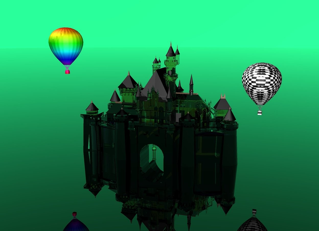 Input text: clear castle.  spring green sky.  black clear ground.  checkerboard hot air balloon 30 feet above ground.  rainbow hot air balloon 50 feet above ground 3 feet to the left of castle.  it is afternoon.