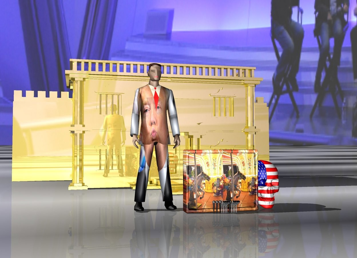 Input text: 12 microphones.  [chris carle] sky.  newspaper ground.  large [carnival] tv behind microphones. big [trump] businessman next to tv.  huge flag skull to the right of tv.  gold bank 7 feet behind tv.  gold wall behind bank.