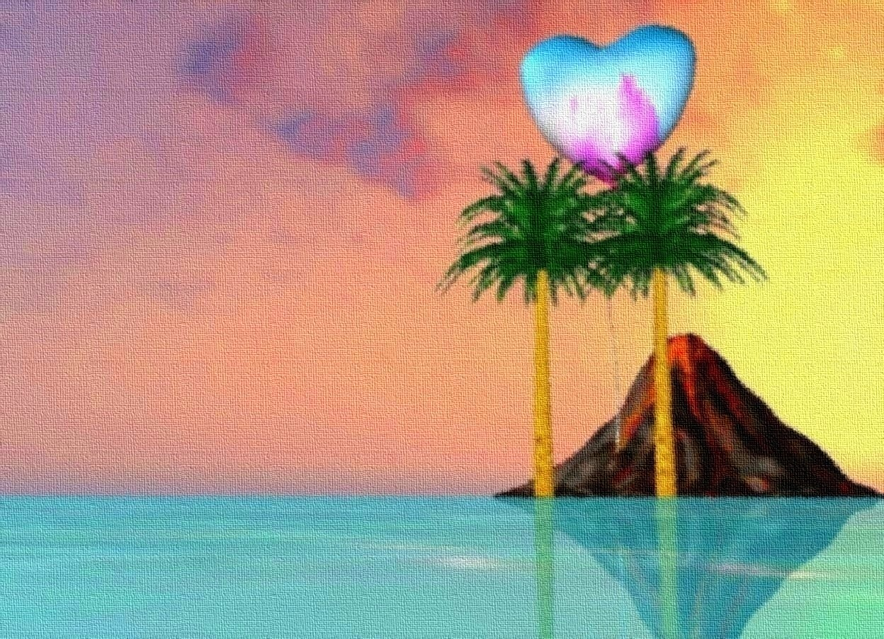 Input text: water ground.  palm trees.  sky.  extremely enormous [hawaii] heart 6 feet above ground behind palm trees.  volcano 100 feet behind palm trees.