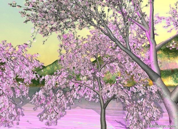 Input text: a apple tree.a cherry tree is left of the apple tree.a pink light is above the apple tree.a plant is right of the cherry tree.a magenta light is above the plant.