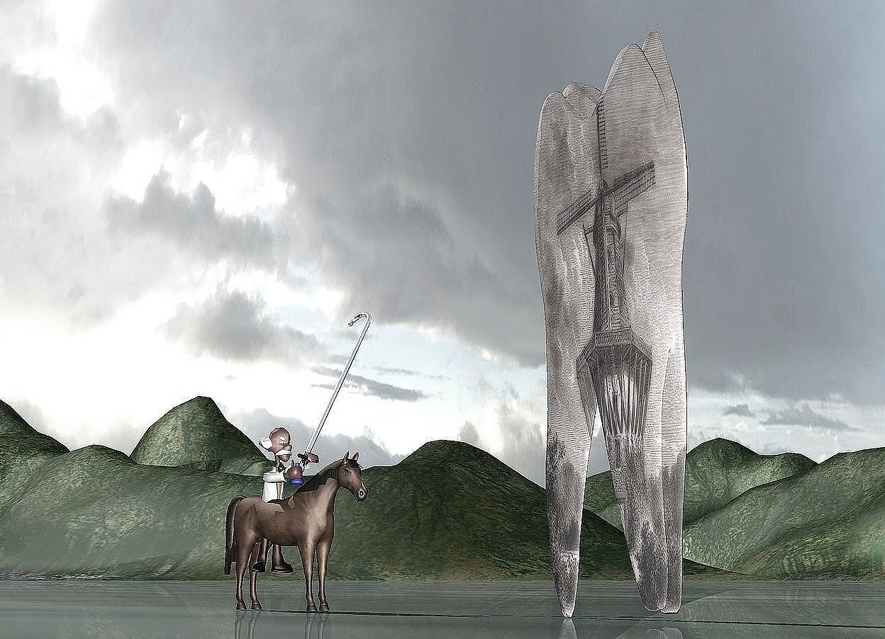 Input text: the [windmill] tooth is 20 inches tall and 6 inches wide. the extremely tiny horse is 8 inches to the left of the tooth. the horse is facing the tooth. the extremely tiny man is in the horse. he is facing the tooth. the tiny silver cane is -2 inches above and -1 inch behind the man. it is leaning 30 degrees to the back.