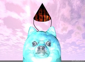 A large teal shiny Pomeranian. A [sparkle] party hat is -.000001 inches on top of the pomeranian and -.000001 inches.