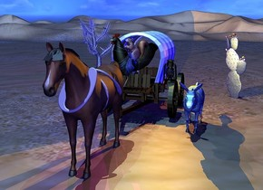 a covered wagon is behind a horse. a tan moon symbol is -3.8 feet in front of the horse and 2.5 feet above the ground. 1st tan upsilon is -2.6 feet in front of the horse and 3.1 feet above the ground. it is leaning to the back. 2nd tan upside down upsilon is -3.1 feet above and -3.4 feet behind the horse. it faces back. it is leaning 40 degrees to the back. a large squirrel is -2.2 feet above a large [peacock] chicken. it leans to the back. the chicken is -5.7 feet in front of the covered wagon and 2.5 feet above the ground. the chicken faces southwest. the squirrel faces southwest. a large lantern is -1.1 feet right of the covered wagon and 2.5 feet above the ground. a  orange light is 2 inches in the lantern. the [van gogh] donkey is 0.7 feet right of and -5.9 feet in front of the covered wagon. 1st large cactus is 6 feet behind and 1 feet right of the donkey. 2nd large cactus is 18 feet behind and 14 feet left of the donkey.  The camera light is gray. the ambient light is blue. the sun's altitude is 80 degrees. the sun's azimuth is 230 degrees. the sun is sky blue. a dim beige light is above the chicken. a dim turquoise light is above the horse. a  purple light is above the 2nd cactus