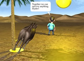 the red man is facing backwards. the tiny palm tree is 10 feet in front of and to the left of the man. the small camel is to the right of the tree. it is facing backwards. it is leaning 30 degrees to the right. the huge shiny yellow sphere is 2 feet above and to the right of the man. the yellow light is in front of the sphere. the shiny yellow tube is -9 inches to the left of the camel. it is 1.7 feet tall.  it is 1 inch wide. it is leaning 60 degrees to the left. it is 11 inches above the ground. the shiny yellow circle is under the tube. it is on the ground.