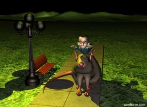 the ground is grass.  There is a HUGE HUGE HUGE rat on the sidewalk.  There is a small man on the rat. There is a small lamp post 0.01 feet to the left of the sidewalk.  There is a small bench behind the lamp post.  the bench faces east. It is night. There is a large yellow light on the lamp post.  There is a small tree .01 feet to the right of the rat.