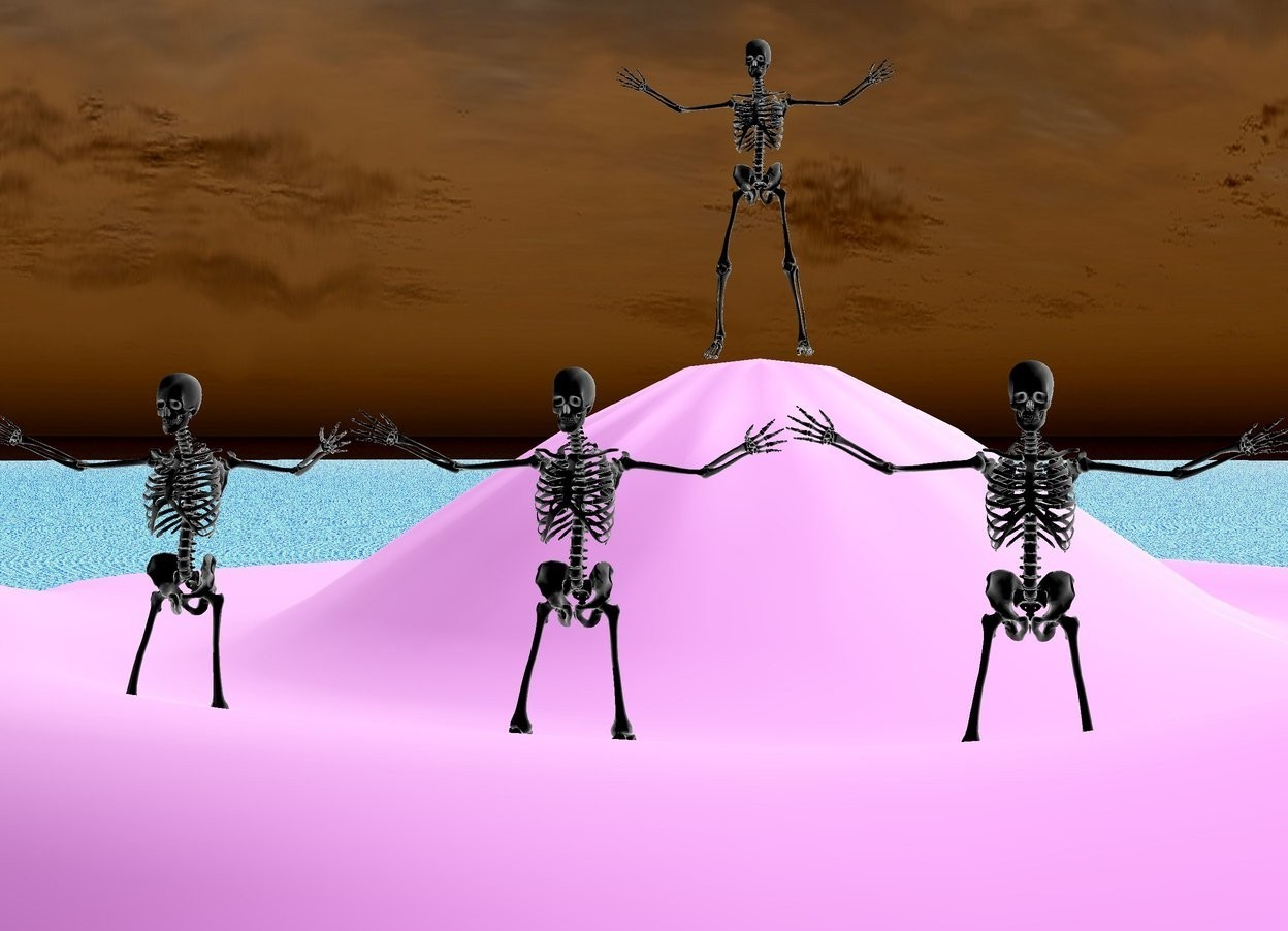 Input text: There is a skeleton on a huge hill. The ground is lava. There are 3 skeletons 10 feet in front of the skeleton. the skeletons are 10 feet above the ground.