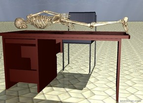 There is a desk. A chair is in front of the desk. the chair is facing the desk. the skeleton is leaning 90 degrees to the front. the skeleton is facing east.the skeleton is 20 centimeters in the desk. the sun's azimuth is 180 degrees. the ground is tile.