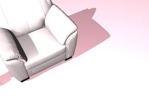 the ground is pink. the sky is pink. there is a armchair. the camera light is white. there is no shadow.