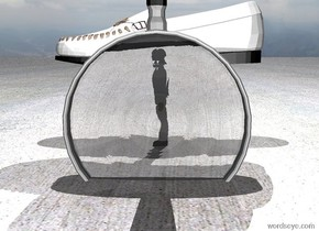 There is a huge white shoe. The shoe is 1.5 feet above the ground. There is a bright light 7 feet above the shoe.  There is a tiny white person under the shoe.  There is an extremely huge magnifying glass 2 feet to the right of the person.  The magnifying glass is .5 feet in the ground.  The magnifying glass is facing the person.  The ground is concrete.  The magnifying glass is upside down.