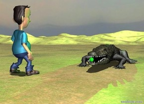 a crocodile.a ball is in front of the crocodile.the ball is 10 inches above the ground.the ball is -3 inches in front of the crocodile.the ball is 4 inches tall.the man is left of the crocodile.the man is 1 feet in front of the crocodile.the man is facing the crocodile.the sun's altitude is 95 degrees.a green light is above the crocodile.the ground is grass.