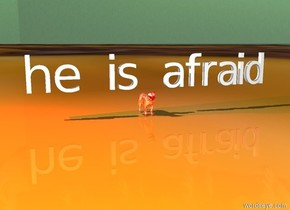 """he is afraid"" is above the reflective red cat. The ground is [tile]. the sky is [fire]. there is a red light above the cat."
