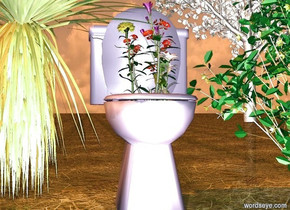 a toilet.a plant is in the toilet.the plant is 1.5 feet tall.the toilet is pale blue.a carnation is -5 inches left of the plant.the carnation is 1.5 feet tall.a lisianthus is -1 inch right of the plant.the lisianthus is 1.8 feet tall.a daisy is 1 inch in front of the plant.the daisy is white.the daisy is facing right. a bush is -16 inches left of the toilet.a witch hazel is right of the toilet.the ground is dirt.a tree is 25 feet behind the witch hazel.the tree is 1 feet right of the witch hazel.a pink light is in front of the toilet.the sun is rust.