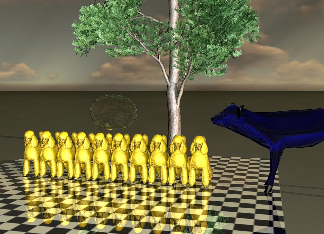 Input text: It is dawn.There is 10 golden poodles on a shiny and green checkerboard floor. there is a green tree 2 feet behind the poodles. there is a big transparent blue cow on the right side of the poodles.the cow is facing left. There is a talk balloon 3 feet on top of the poodles